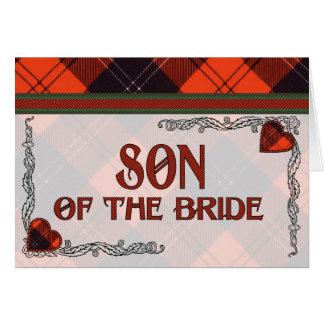 Hijo de la invitación de la novia - tartán de Rams Felicitacion