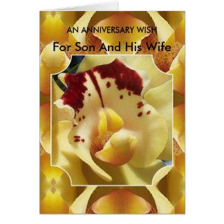 Hijo del aniversario de boda y orquídea felices de tarjetas