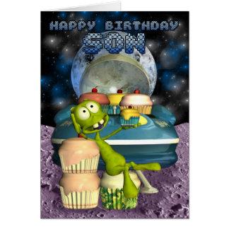 Hijo del feliz cumpleaños, fuera de este mundo, tarjeta de felicitación