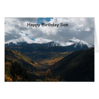 Hijo del feliz cumpleaños tarjeton