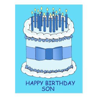 Hijo del feliz cumpleaños, velas azules en la postal