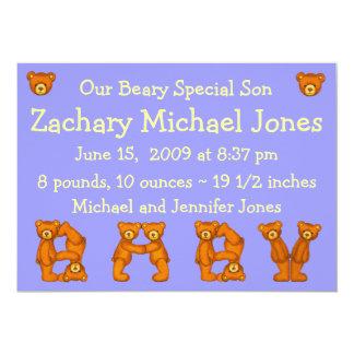 Hijo del Special de Announcements~Beary del Invitación 12,7 X 17,8 Cm