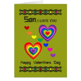 Hijo - el día de San Valentín feliz Tarjeta De Felicitación