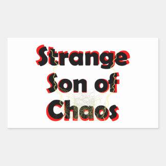 Hijo extraño del caos pegatina rectangular
