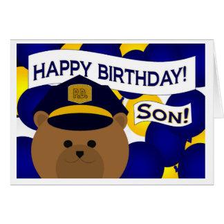 ¡Hijo - héroe de la policía del feliz cumpleaños! Tarjeta De Felicitación