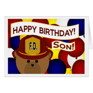 ¡Hijo - héroe del bombero del feliz cumpleaños! Tarjeta De Felicitación