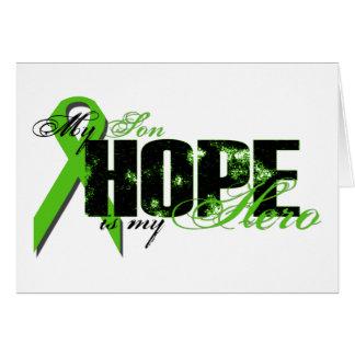 Hijo mi héroe - esperanza del linfoma tarjeta de felicitación