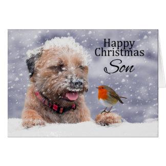 Hijo, navidad, perro de Terrier de frontera en la Tarjeta De Felicitación