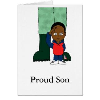 Hijo orgulloso tarjeta de felicitación