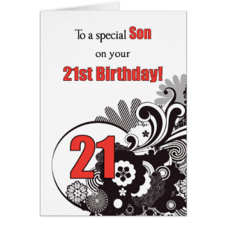 Hijo, remolinos religiosos del 21ro cumpleaños tarjeta de felicitación