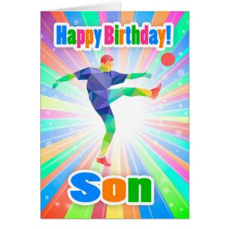 Hijo, tarjeta abstracta colorida del cumpleaños