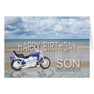 Hijo, una tarjeta de cumpleaños con una bici del