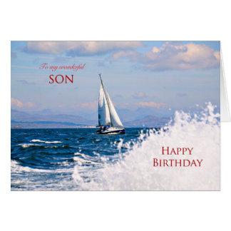 Hijo, una tarjeta de cumpleaños del yate de la