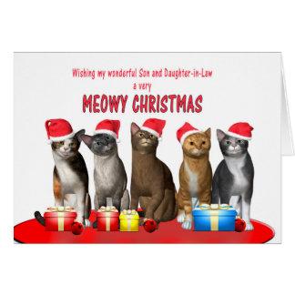 Hijo y nuera, gatos en gorras del navidad tarjeta de felicitación