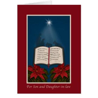 Hijo y nuera navidad abierto de la biblia