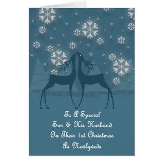 Hijo y su navidad del reno del marido tarjeta de felicitación