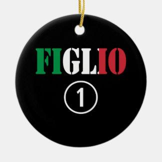 Hijos italianos: Uno de Figlio Numero Adorno Redondo De Cerámica
