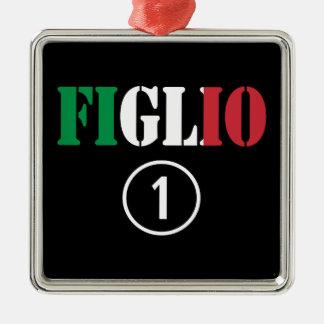 Hijos italianos: Uno de Figlio Numero Adorno Cuadrado Plateado