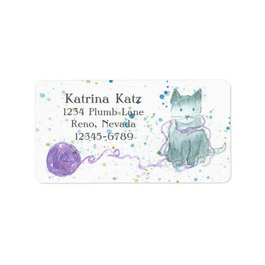 Hilado gris de la púrpura del gatito etiquetas de dirección