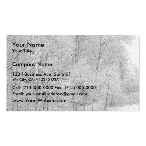 Hilera de árboles helada tarjetas de visita