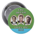 Hillary Clinton, Barack Obama y John Kennedy Chapa Redonda De 7 Cm