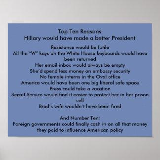 Hillary mejora al presidente póster