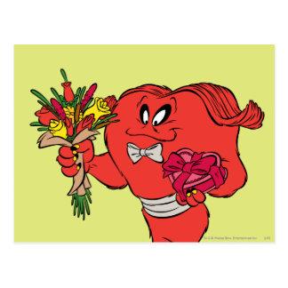 Hilo de araña con los rosas postal