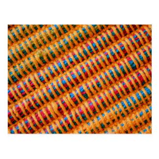 Hilos tejidos vibrantes coloridos postal