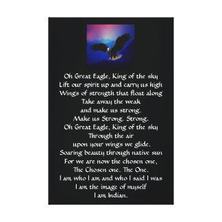 Himno del indio del nativo americano lienzo envuelto para galerías