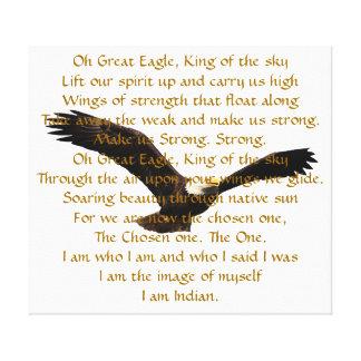 Himno del indio del nativo americano impresión en lona estirada