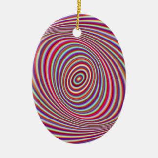 Hipnosis de neón adorno navideño ovalado de cerámica