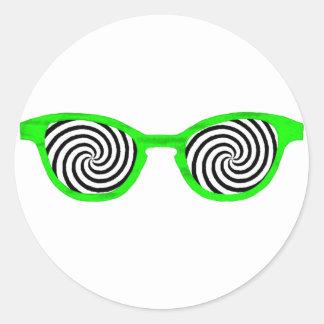 Hipnotice el borde verde de las gafas de sol el pegatina redonda