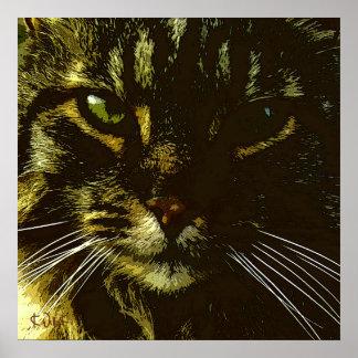 Póster Hipnotizar hipnosis del arte de Digitaces del gato