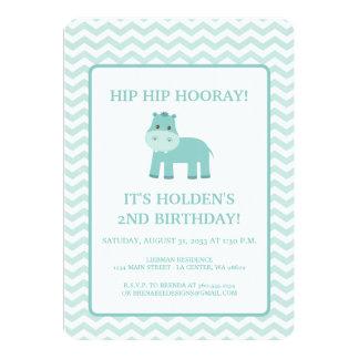 Hipopótamo de la aguamarina con el cumpleaños de invitación 12,7 x 17,8 cm