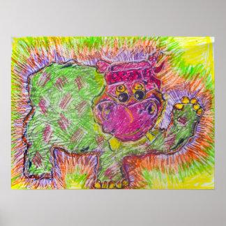 Hipopótamo del Hippie Impresiones