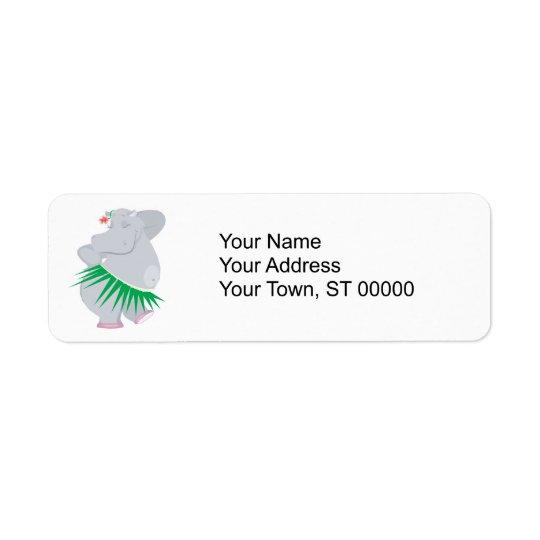 hipopótamo del hula etiqueta de remite
