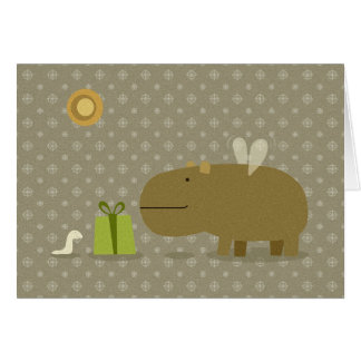 Hipopótamo del vuelo y su gusano del amigo pequeño tarjeta