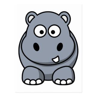Hipopótamo divertido lindo postal