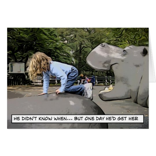 hipopótamo hambriento - un día tarjeta de felicitación