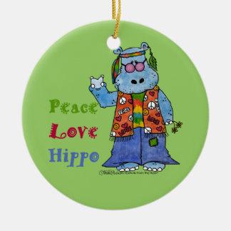 Hipopótamo-Paz del Hippie, amor, hipopótamo Adorno Redondo De Cerámica
