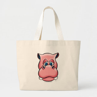 Hipopótamo (rosa) bolsa tela grande