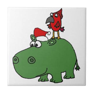 Hipopótamo verde divertido del navidad azulejo de cerámica