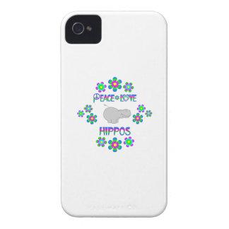 Hipopótamos del amor de la paz carcasa para iPhone 4 de Case-Mate