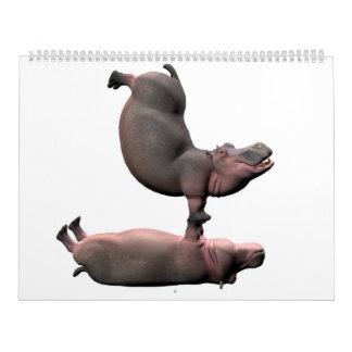 Hipopótamos extraños calendario de pared