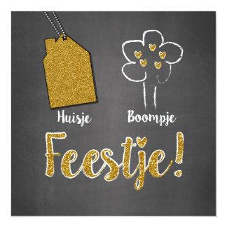 Hippe kaart grijs en goud- Huisje boompje feestje Invitación 13,3 Cm X 13,3cm