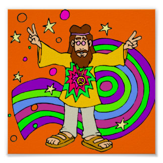 Hippie con Lond Haair en el naranja Póster