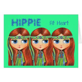 Hippie en la tarjeta del corazón
