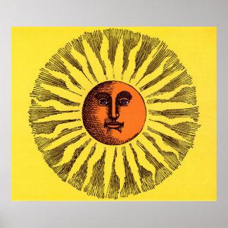 Hippie feliz sonriente Sun del amarillo celestial Poster
