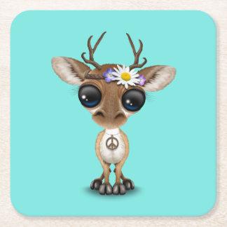 Hippie lindo de los ciervos del bebé posavasos cuadrado de papel