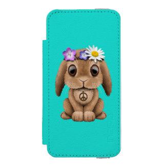 Hippie lindo del conejito del bebé funda cartera para iPhone 5 watson